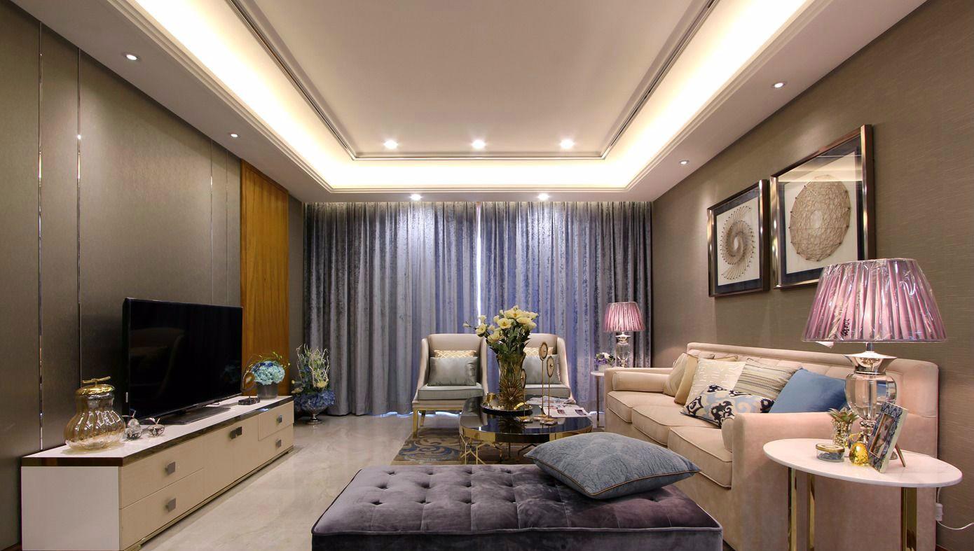 时尚简欧三居室客厅装修效果图