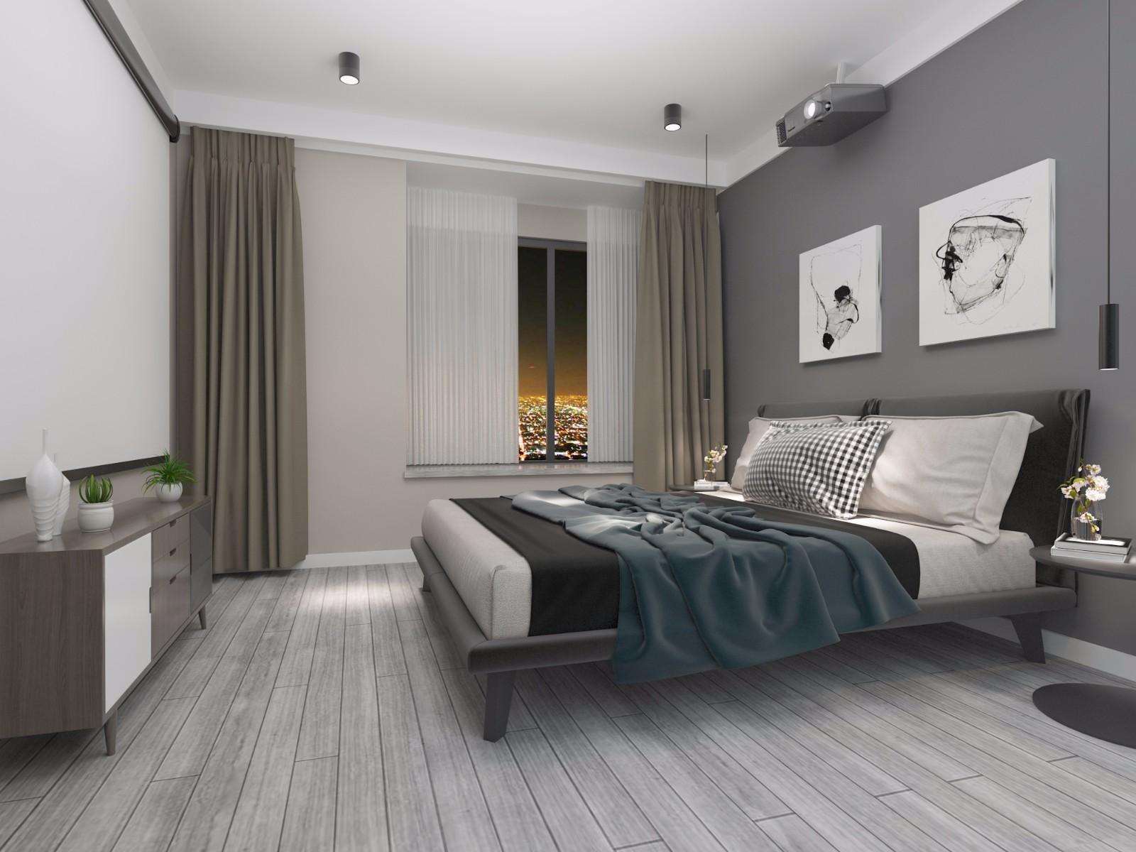 黑白灰现代简约风卧室装修效果图