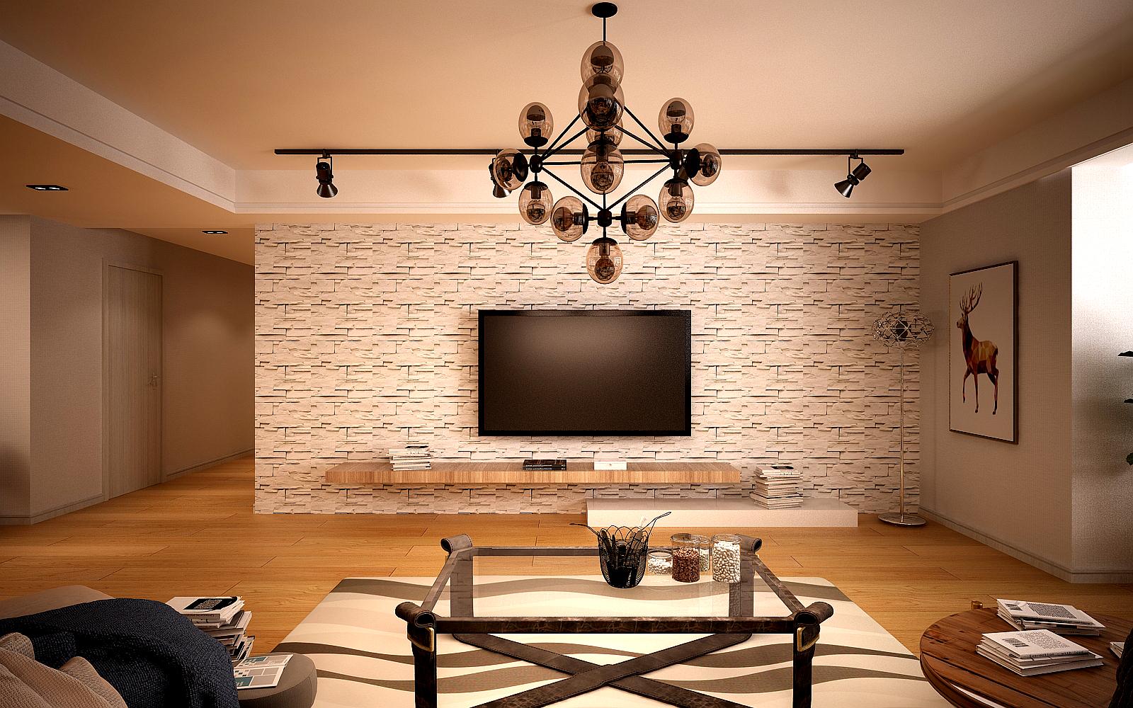 110㎡混搭风格电视背景墙装修效果图