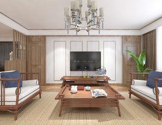 130平米新中式电视背景墙装修效果图