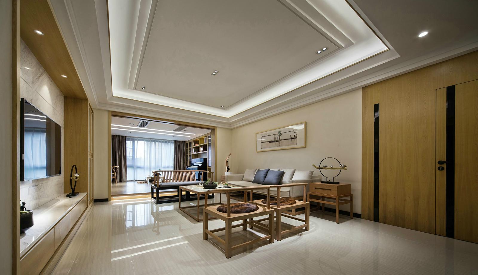 现代中式风三居客厅吊顶装修效果图