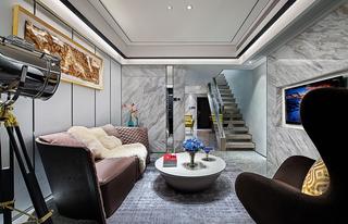 现代简约复式客厅装修效果图