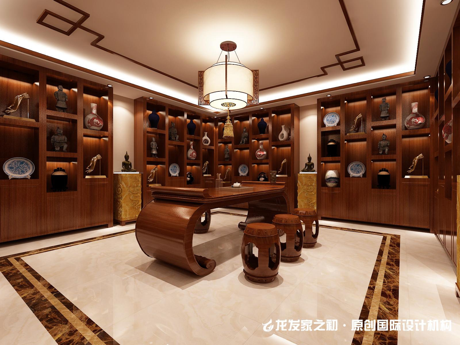 中式别墅书房装修设计效果图