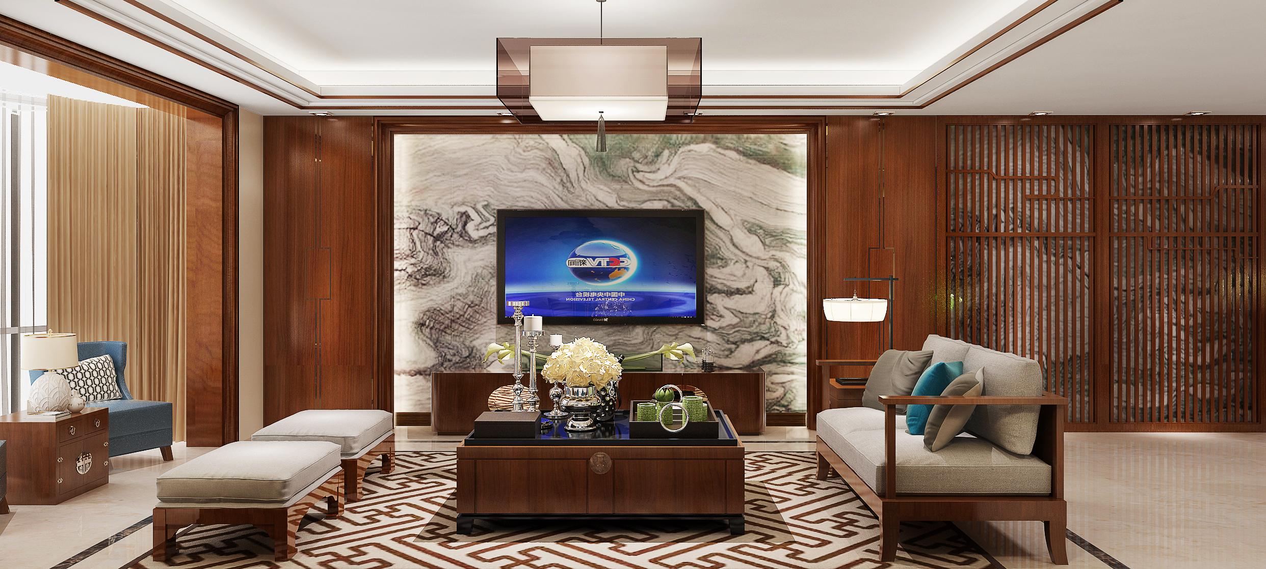 中式风格大户型电视背景墙装修效果图
