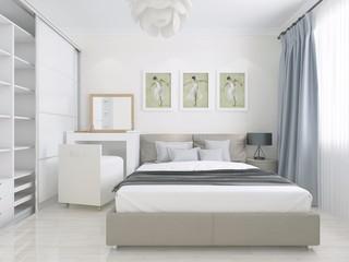 简约卧室背景墙装修效果图
