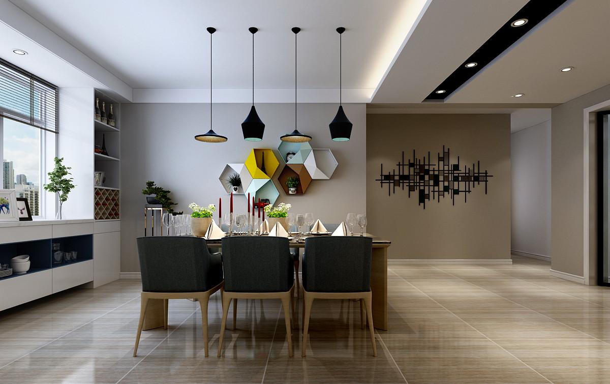 现代混搭风格餐厅背景墙装修效果图