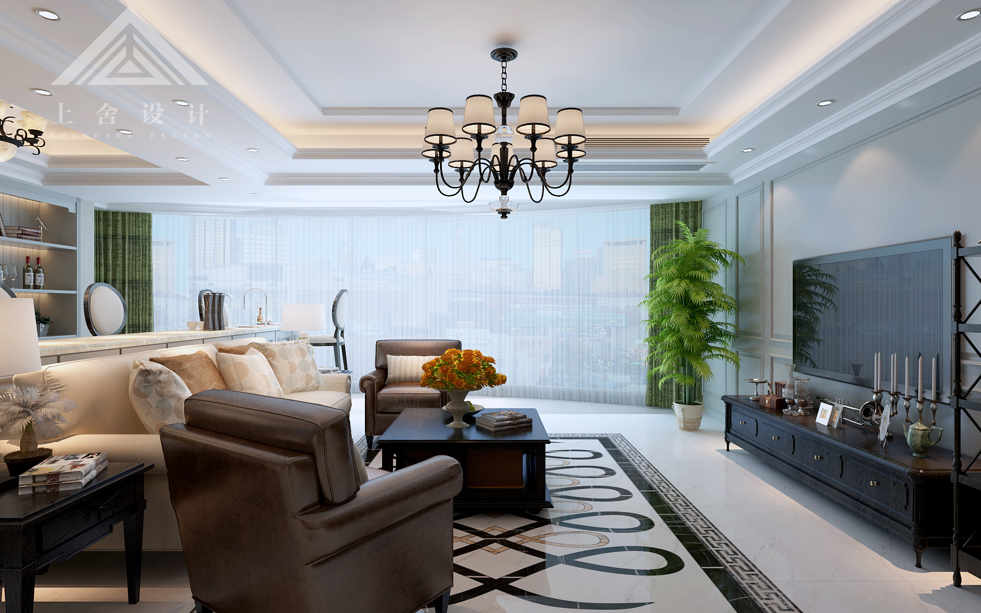 美式风格客厅装修设计效果图