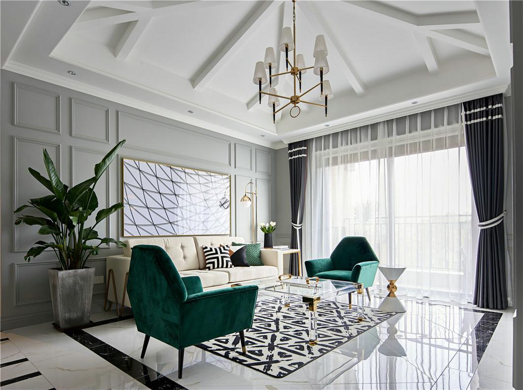 140平法式混搭客厅吊顶装修效果图