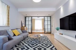 110平北欧风格客厅地台装修设计图