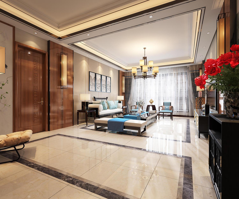 160平米中式风格客厅装修效果图