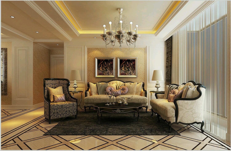 130平欧式风格沙发背景墙装修效果图