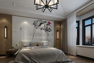中式风格两居卧室背景墙装修效果图