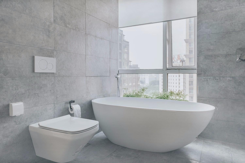 极简北欧风卫生间浴缸设计效果图