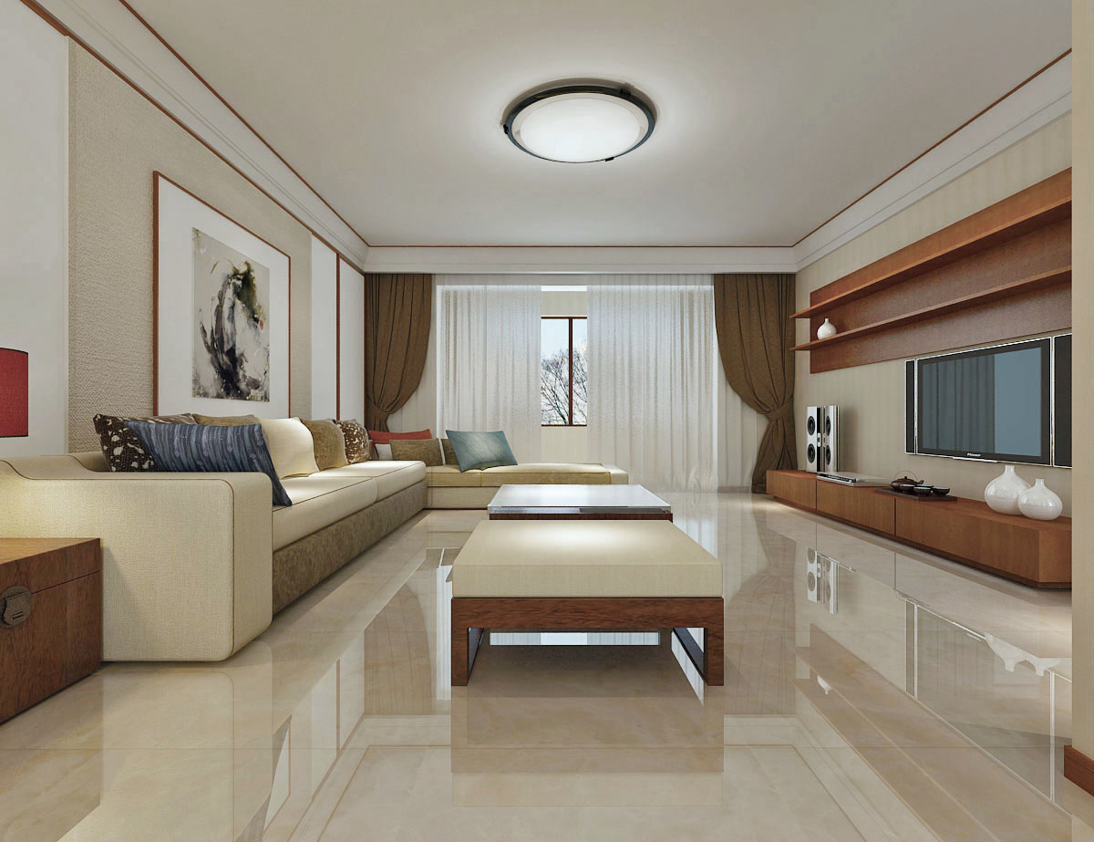 现代中式三居客厅装修效果图