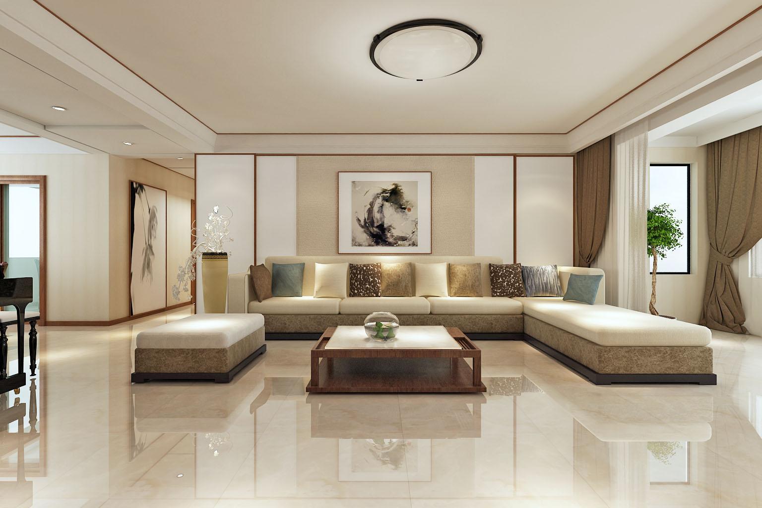 现代中式三居沙发背景墙装修效果图