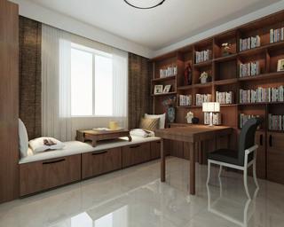 现代中式三居书房装修效果图