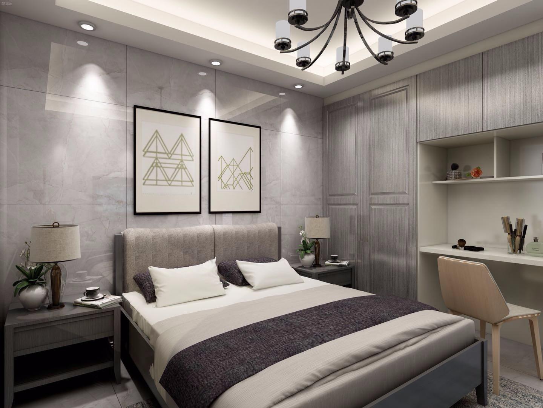 现代简约灰色调卧室装修效果图