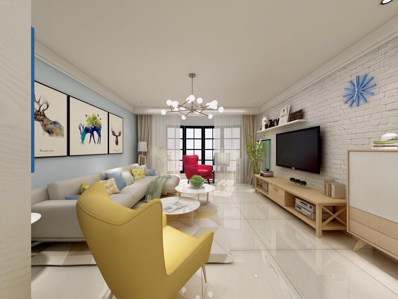 86平简约风格客厅装修效果图