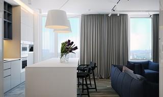 现代简约公寓开放式厨房装修效果图