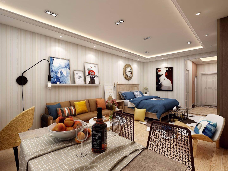北欧单身公寓客餐厅装修效果图