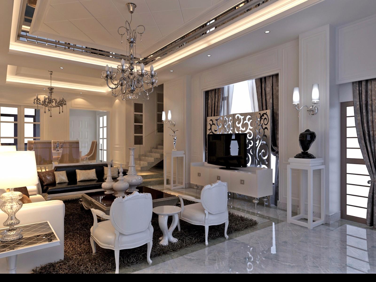 现代欧式风别墅客厅装修效果图