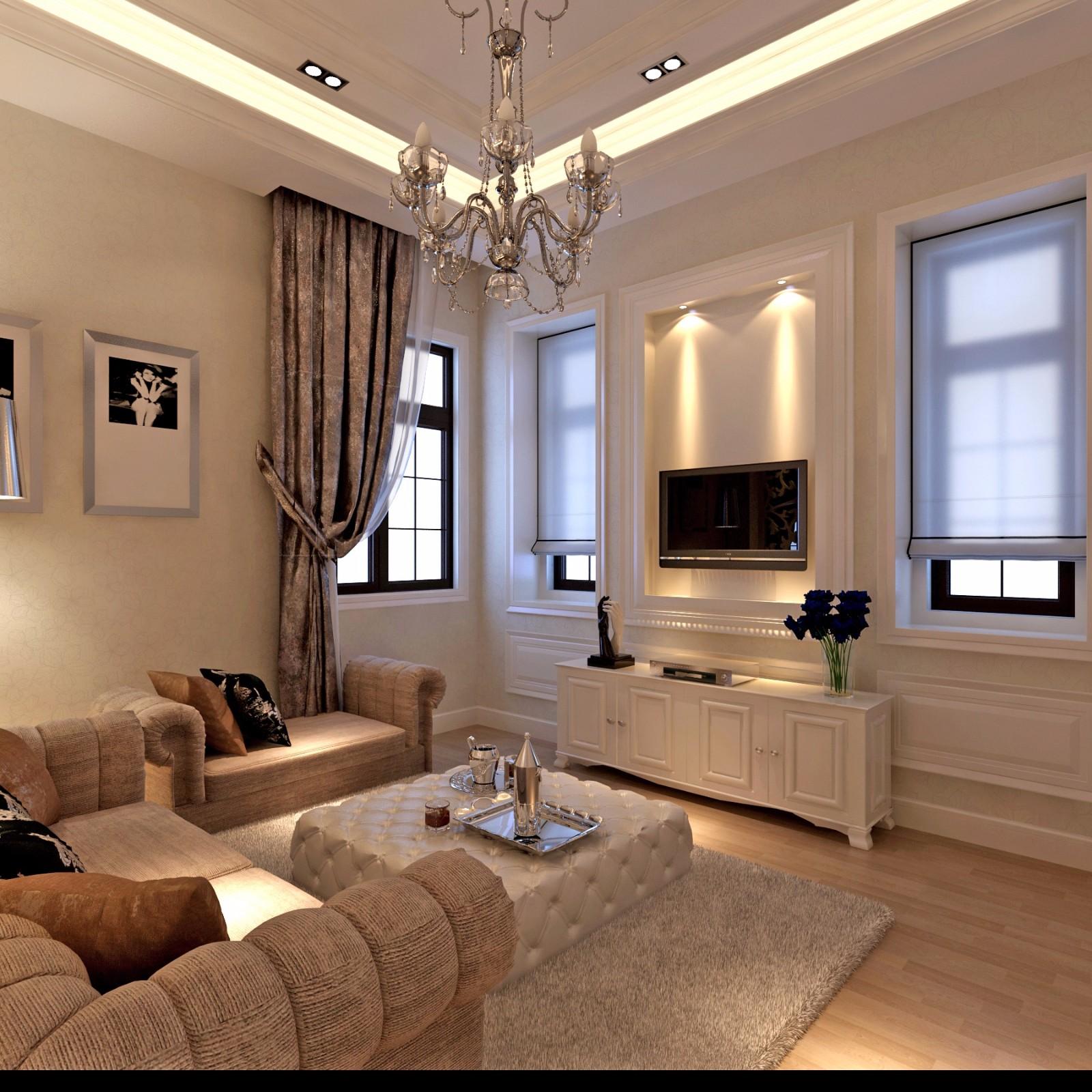 现代欧式风别墅电视背景墙装修效果图