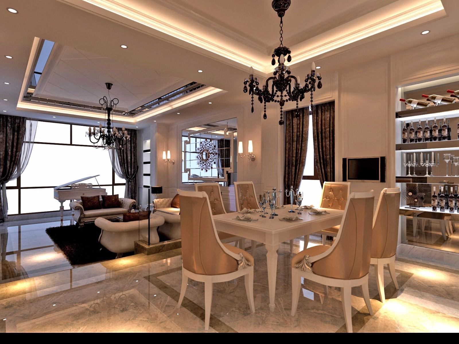 现代欧式风别墅餐厅装修效果图