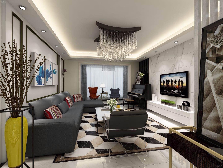 135平现代风格客厅装修效果图