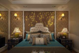 美式混搭风三居卧室背景墙装修效果图