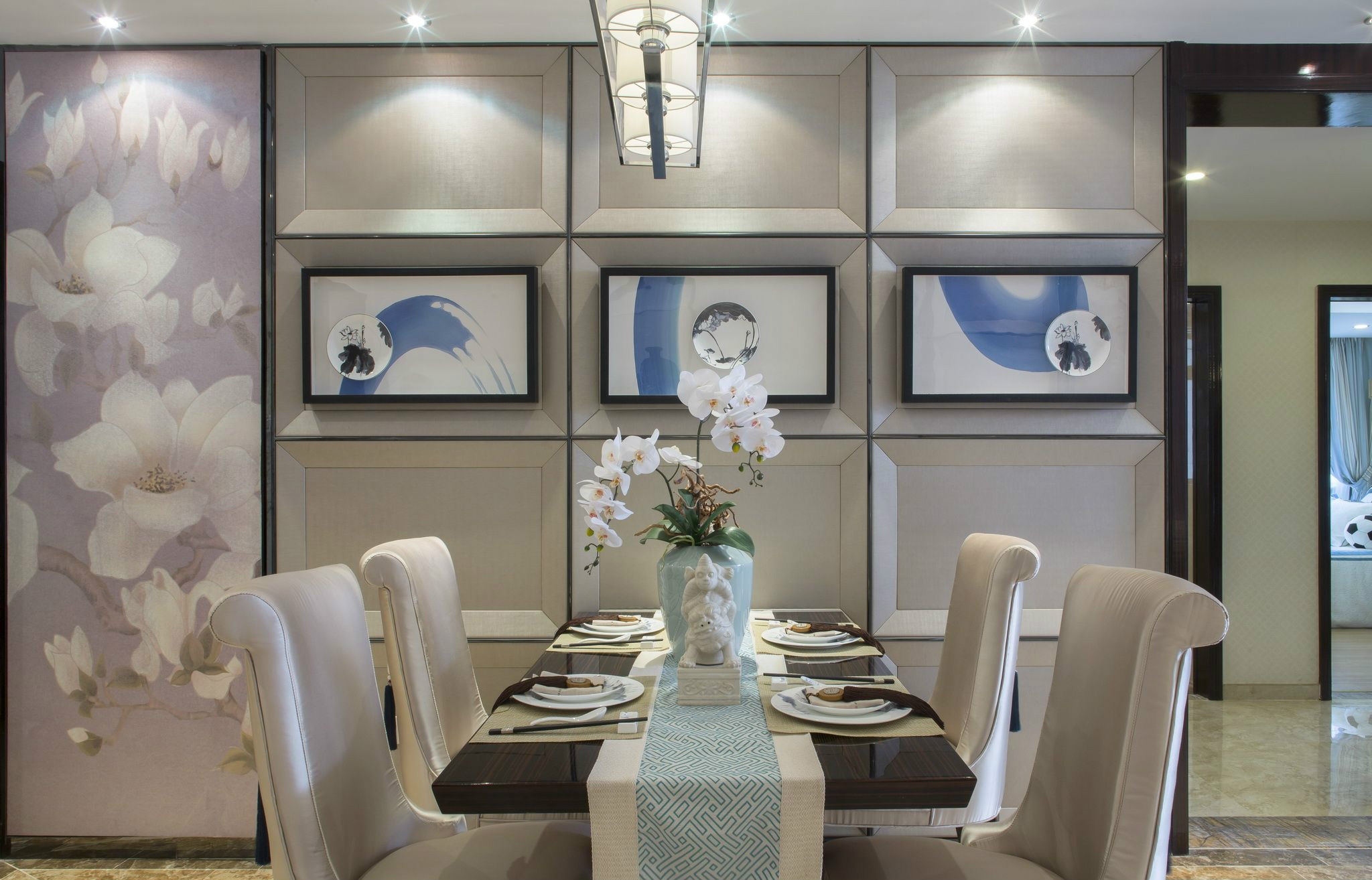 新中式风格餐厅背景墙装修效果图