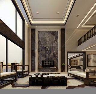 中式风格别墅电视背景墙装修效果图