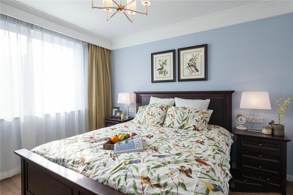 100平美式风格两居装修床头背景墙效果图