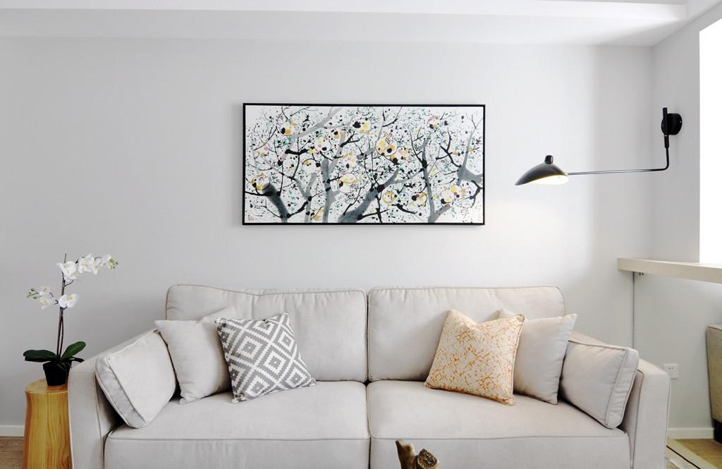 110平现代简约两居沙发背景墙装修效果图