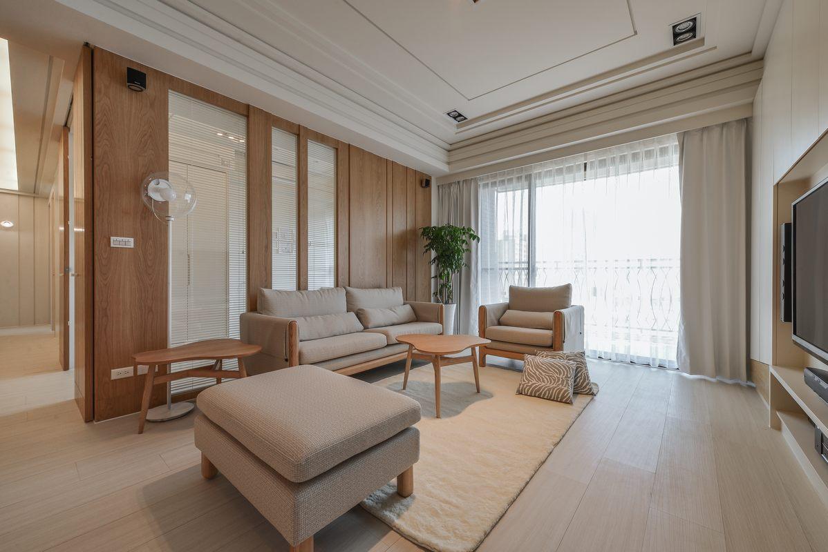 简约日式三居客厅吊顶装修设计效果图