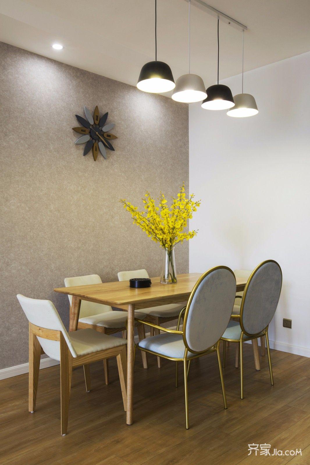 简约北欧三居室餐厅背景墙装修效果图