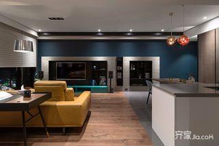 128㎡现代简约风格装修客厅过道设计图