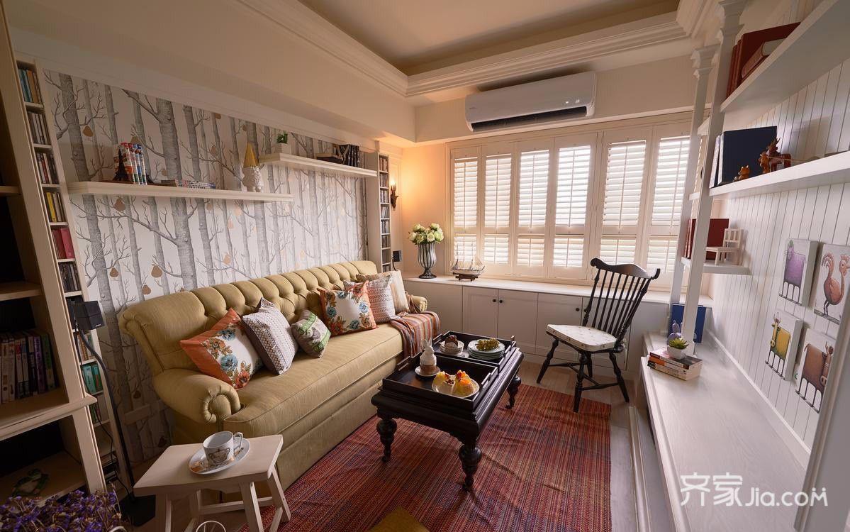 120平田园风格客厅装修效果图