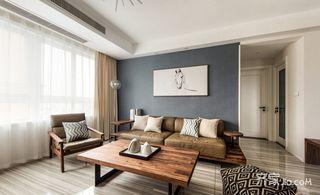 70m²现代简约沙发背景墙装修效果图