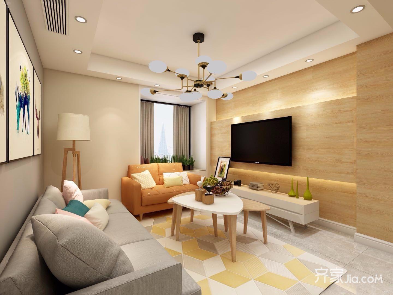 110平米简约风格客厅装修效果图