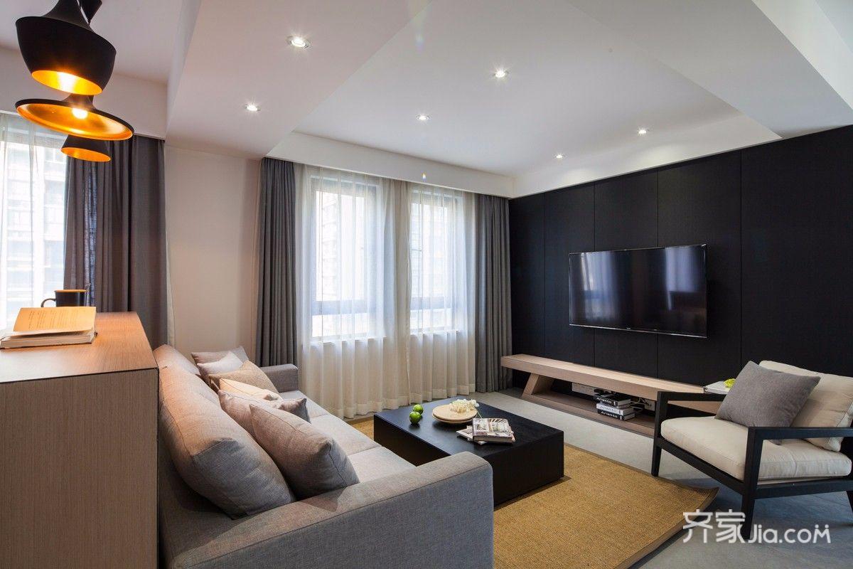 现代简约两居客厅装修效果图