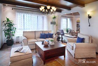 85平美式田园客厅装修效果图