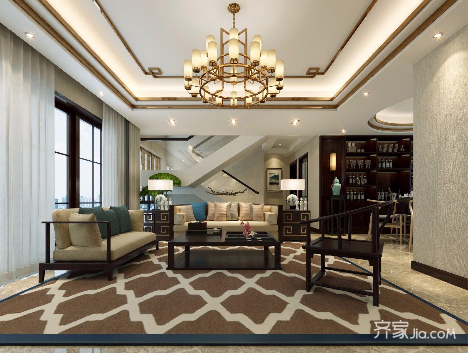 复式新中式客厅装修效果图