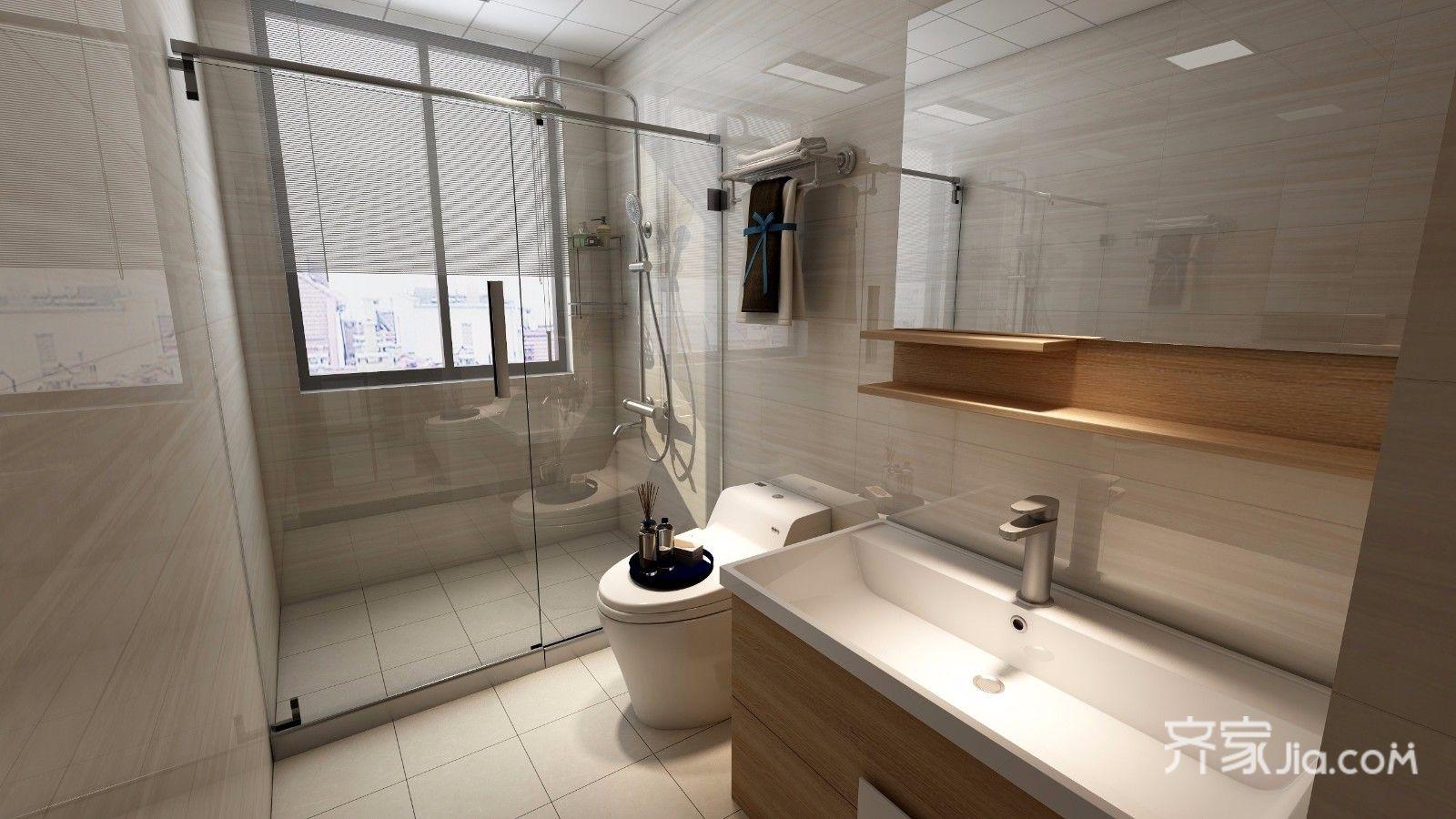 110平现代风格卫生间装修效果图