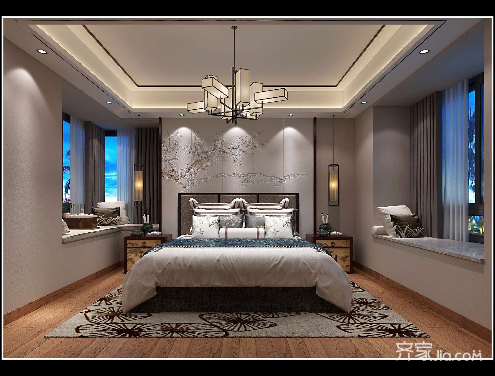 现代中式卧室效果�_中式风格卧室效果图,中式风格卧室效果图案例_2019装修效果图