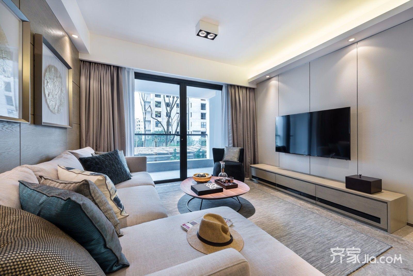 110平现代三居室电视背景墙装修效果图