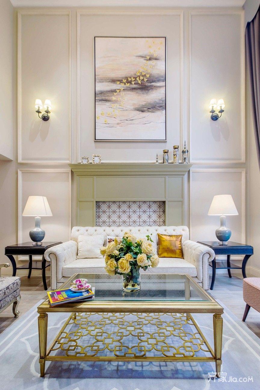 大户型复式美式沙发背景墙装修效果图