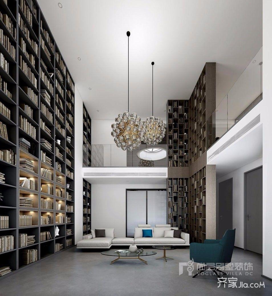 现代简约别墅装修书柜设计图