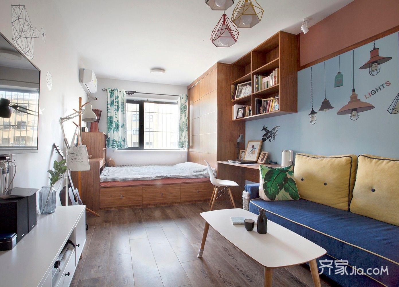 小户型一居室客卧一体装修效果图