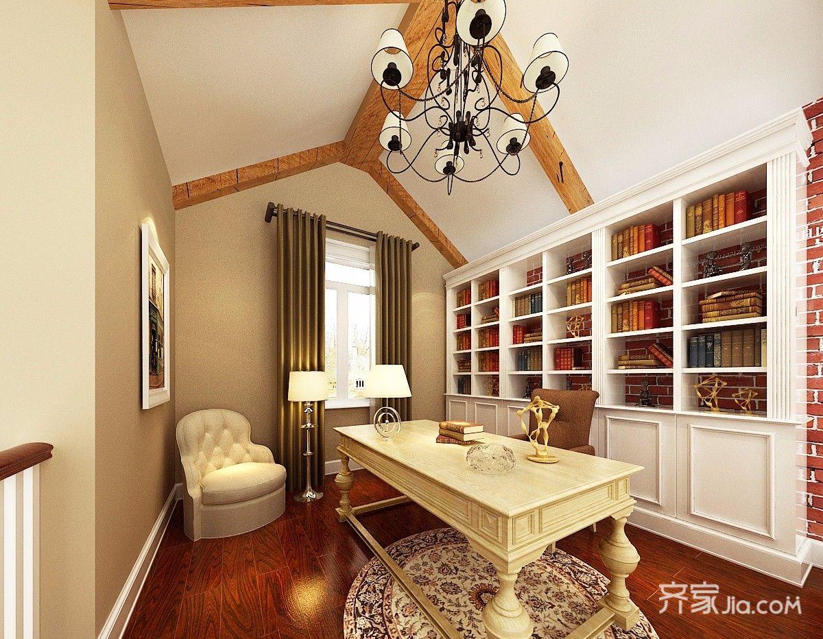 美式风格复式别墅书房装修效果图