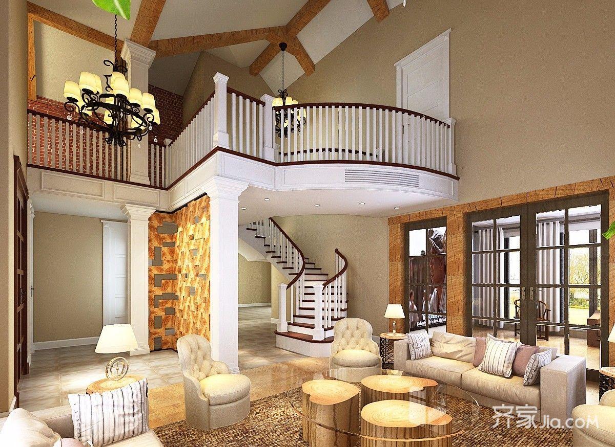 美式风格复式别墅客厅装修效果图